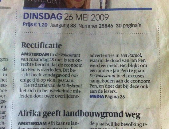 rectificatie Volkskrant Jan Pen